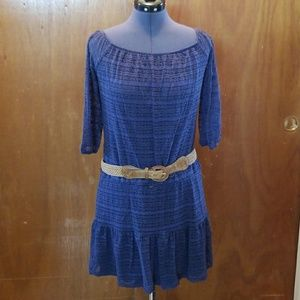 Blue lace belted dress